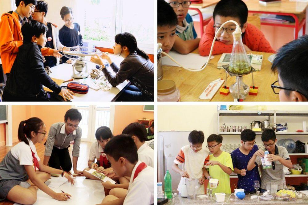 Học sinh làm thí nghiệm